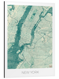 Alu-Dibond  Carte de New York, bleu - Hubert Roguski