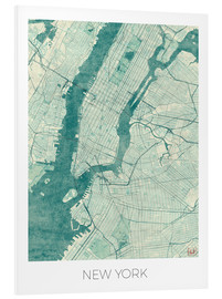 Tableau en PVC  Carte de New York, bleu - Hubert Roguski