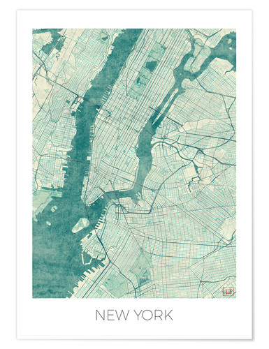 Poster Carte de New York, bleu