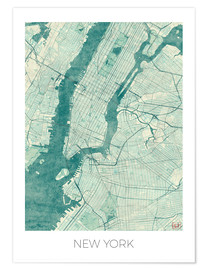 Poster  Carte de New York, bleu - Hubert Roguski