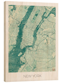 Tableau en bois  Carte de New York, bleu - Hubert Roguski
