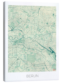 Toile  Carte de Berlin, bleu - Hubert Roguski