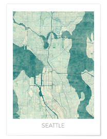 Poster  Seattle Map Blue - Hubert Roguski