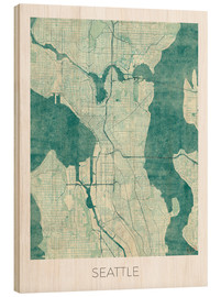 Tableau en bois  Seattle Map Blue - Hubert Roguski