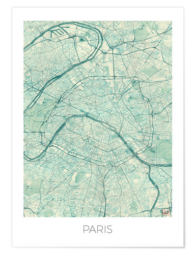 Poster Carte de Paris