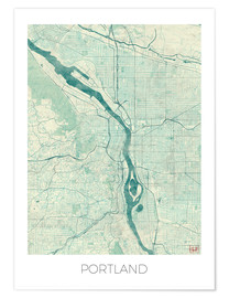 Poster  Portland Map Blue - Hubert Roguski