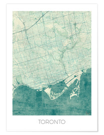 Poster  Toronto Map Blue - Hubert Roguski