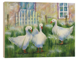 Tableau en bois  Geese in the grass - Jitka Krause