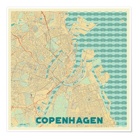 Poster  Copenhagen Map Retro - Hubert Roguski