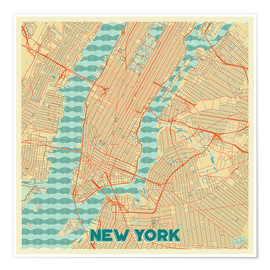 Poster New York Map Retro