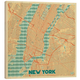 Tableau en bois  New York Map Retro - Hubert Roguski