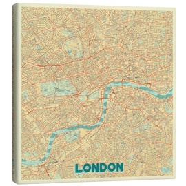 Tableau sur toile  London Map Retro - Hubert Roguski