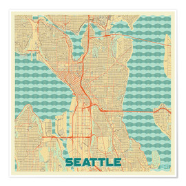 Poster  Seattle Map Retro - Hubert Roguski