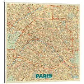 Tableau en aluminium  Paris Map Retro - Hubert Roguski