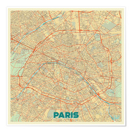 Poster Paris Map Retro