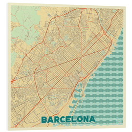 Tableau en PVC  Barcelona Map Retro - Hubert Roguski
