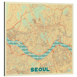 Tableau en aluminium  Seoul Map Retro - Hubert Roguski