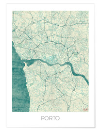Poster  Porto Map Blue - Hubert Roguski