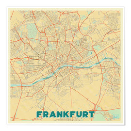 Poster  Frankfurt Map Retro - Hubert Roguski