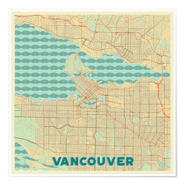 Poster Vancouver Map Retro