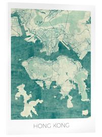 Tableau en verre acrylique  Hong Kong Map Blue - Hubert Roguski