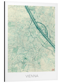 Alu-Dibond  Vienna Map Blue - Hubert Roguski
