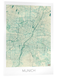Verre acrylique  Munich Map Blue - Hubert Roguski