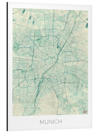 Alu-Dibond  Munich Map Blue - Hubert Roguski