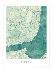 Poster  Lisbon Map Blue - Hubert Roguski