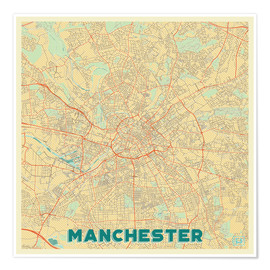 Poster Manchester Map Retro