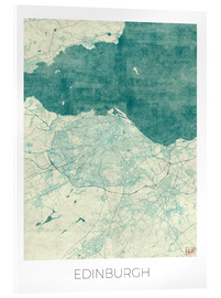 Verre acrylique  Edinburgh Map Blue - Hubert Roguski