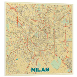 Tableau en PVC  Milan Map Retro - Hubert Roguski