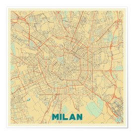 Poster Milan Map Retro