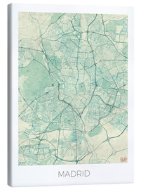 Toile  Madrid, Spain Map Blue - Hubert Roguski