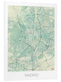 Tableau en PVC  Carte de Madrid, bleue - Hubert Roguski