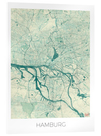 Verre acrylique  Hamburg, Germany Map Blue - Hubert Roguski