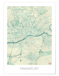 Poster  Frankfurt, Germany Map Blue - Hubert Roguski