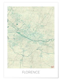Poster Florence, Italy Map Blue