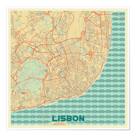 Poster Lisbon, Portugal Map Retro