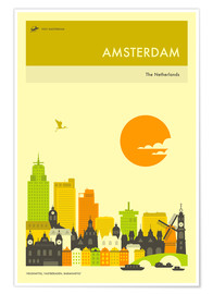 Poster  AMSTERDAM TRAVEL POSTER - Jazzberry Blue
