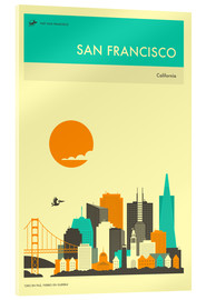 Tableau en verre acrylique  SAN FRANCISCO TRAVEL POSTER - Jazzberry Blue