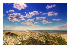 Poster Blue sky with clouds on Texel