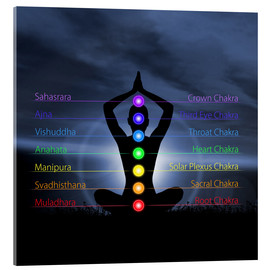 Verre acrylique  Chakras with silhouette