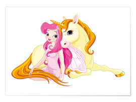 Poster  Elfe et sa licorne - Kidz Collection
