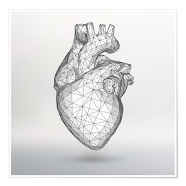Poster  polygone heart
