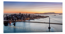 Tableau en verre acrylique  Aerial view of San Francisco at sunset, USA - Matteo Colombo