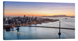 Tableau sur toile  Aerial view of San Francisco at sunset, USA - Matteo Colombo