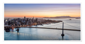 Poster  Aerial view of San Francisco at sunset, USA - Matteo Colombo