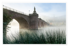 Poster  Neckar and Old Bridge in Heidelberg in autumn - Jan Christopher Becke