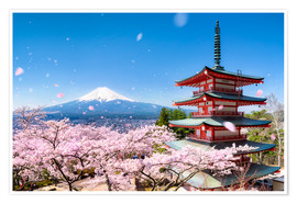 Poster  Pagode Chureito et Mont Fuji au printemps, Japon - Jan Christopher Becke